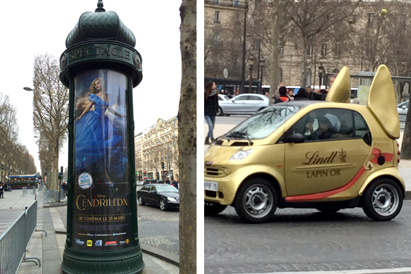 Movie Poster Kiosk & Chocolate Bunny Car - Paris